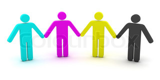 CMYK people standing in a row 3d objects isolated on the white background