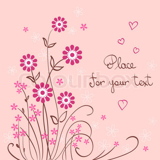 valentine pink vector background with flower and heart