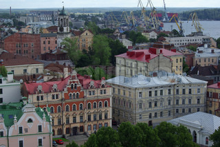 Top view on old buildings of Vyborg, Russia
