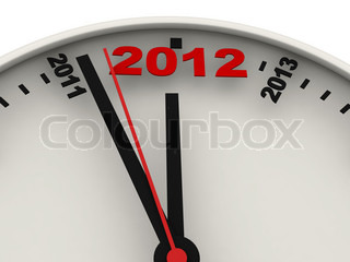 New Year's clock on white background