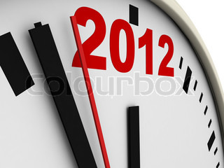 New Year's clock on white background 3d render