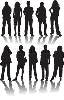 Vektor silhuetter mand og kvinder , illustration
