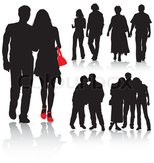 Vector silhouettes couples man and women, vector illustration