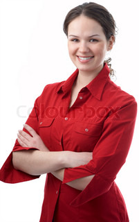 young beauty business woman on white background