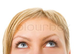 half woman face with eyes over white background