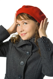girl in red beret on white