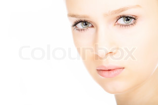 beauty close-up portrait young woman face on white background