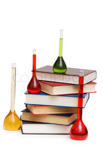 Chemistry concept with tubes and books on white