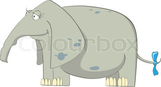 Cartoon Character Elephant Isolated on White Background