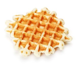 crisp waffle isolated on white background