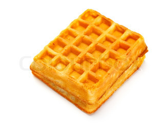 soft waffle isolated on white background
