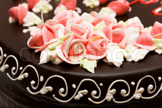Close up of rose decoration on the cake