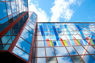 On office building charts showing growth and prosperity in business are shown
