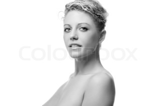 black and white portrait of the beautiful woman with naked torso