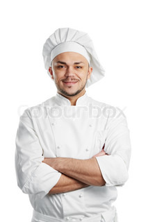 professional chef in white uniform and hat isolated