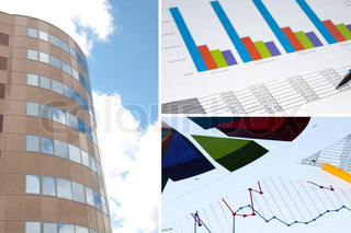 Office building, official papers, business collage