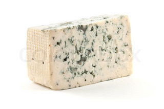 Cheese with mold. Isolated on white