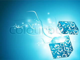 opened magic gift box with floral decoration over blue background