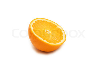 Half cut orange isolated on white background