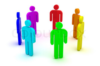 Group of people standing in a circle 3d objects isolated on the white background