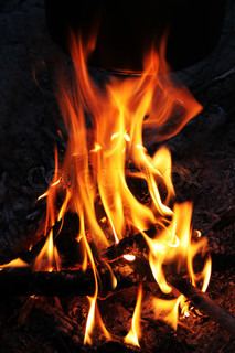 Bright flame of a fire on night