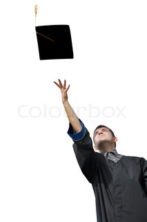 one graduate student tossing up hat isolated on white