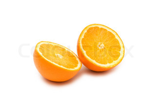 Two half-cut oranges isolated on white background