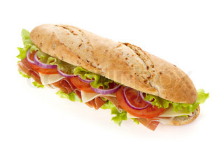 Long sandwich with ham, cheese, tomatoes, red onion and lettuce