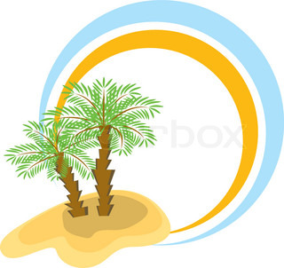 Color frame with two palm-trees Vector illustration