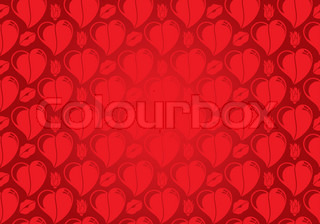 Valentines Day seamless pattern with Hearts, flower and lips, element for design, vector illustration