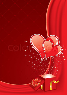 Valentines Day frame with Hearts and box, element for design, vector illustration