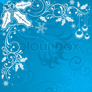 Christmas Frame with snowflakes and holly berry, element for design, vector illustration