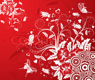 Valentines Day background with Hearts and Flowers, element for design, vector illustration