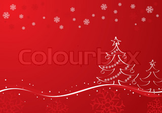 Hand painted Christmas background with tree, element for design, vector illustration