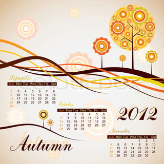 Tree autumn calendar 2012, vector illustration