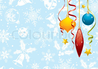 Christmas background with bauble and decoration element, vector illustration