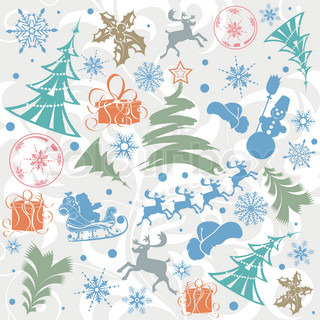 Christmas background with Santa, snowman, snowflakes, element for design, vector illustration