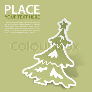 Christmas sticker with tree, vector illustration