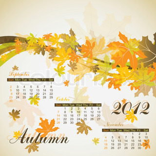 Maple autumn calendar 2012, vector illustration, eps10