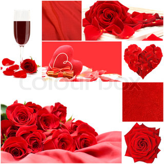 red love collage with roses flowers, vine glass, silk and heart - Valentine's Day background