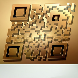 Gold 3D qr code for item in sale