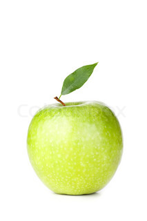 A Ripe Green Apple with leaf isolated on white background