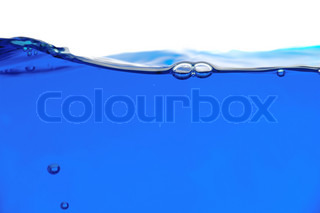 Blue water line on a white background Focus on the water line