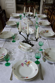 old fashioned dinner table