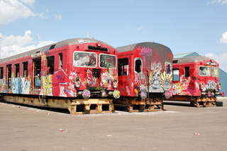Old trains with graffiti