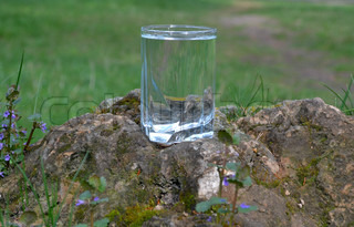 Living structured water in a transparent glass beaker