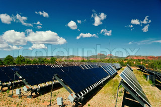 Solar panels in Utah under blue sky . USA
