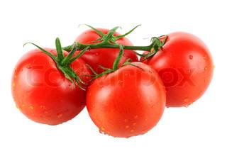 Four fresh tomatos isolated on white background
