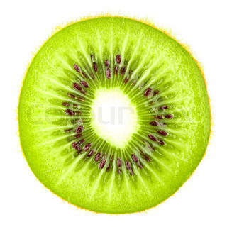 Macro food collection - Kiwi slice Isolated on white background