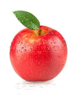 A ripe red apple with green leaf and water drops Isolated on white background